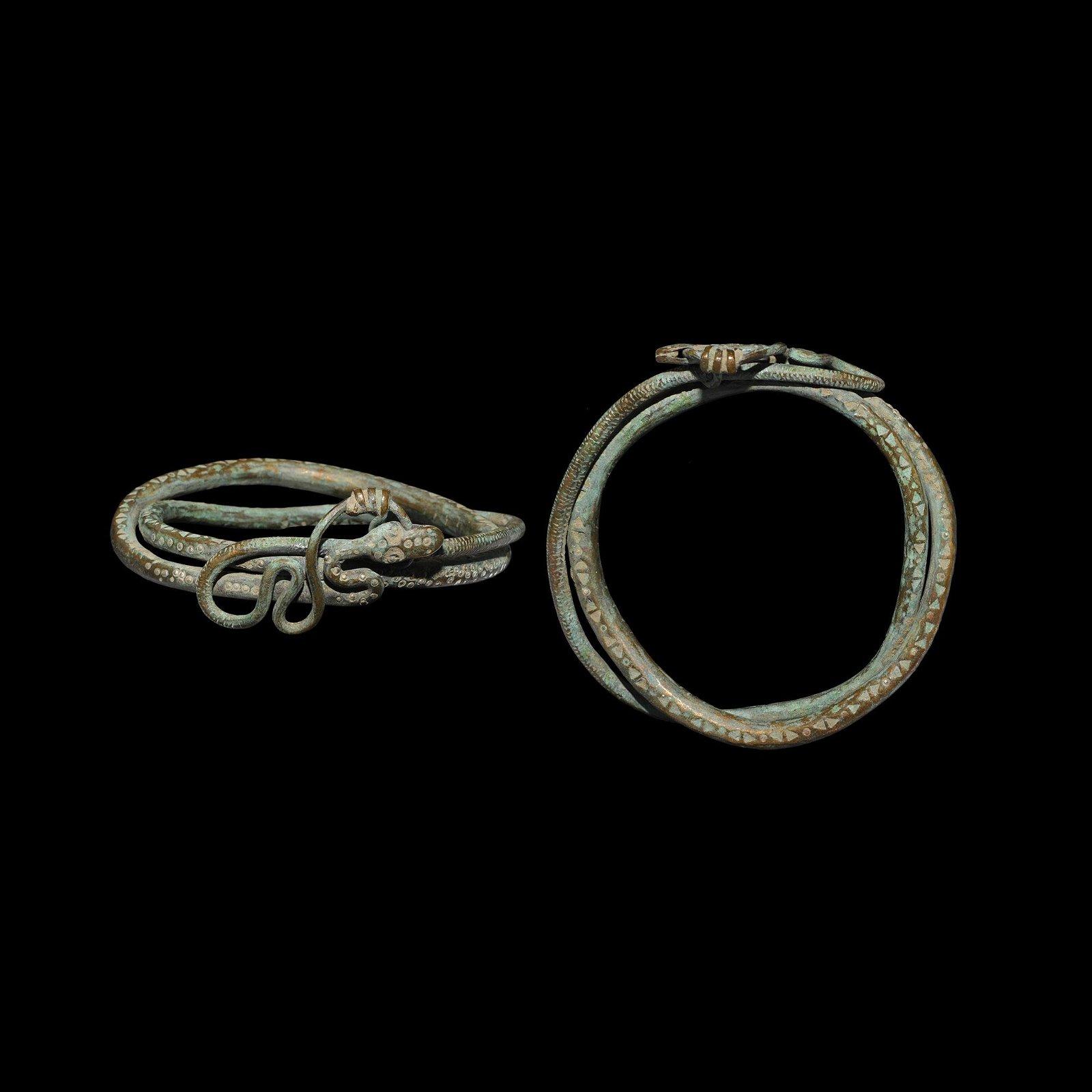 Viking Silver-Inlaid Snake Arm Ring
