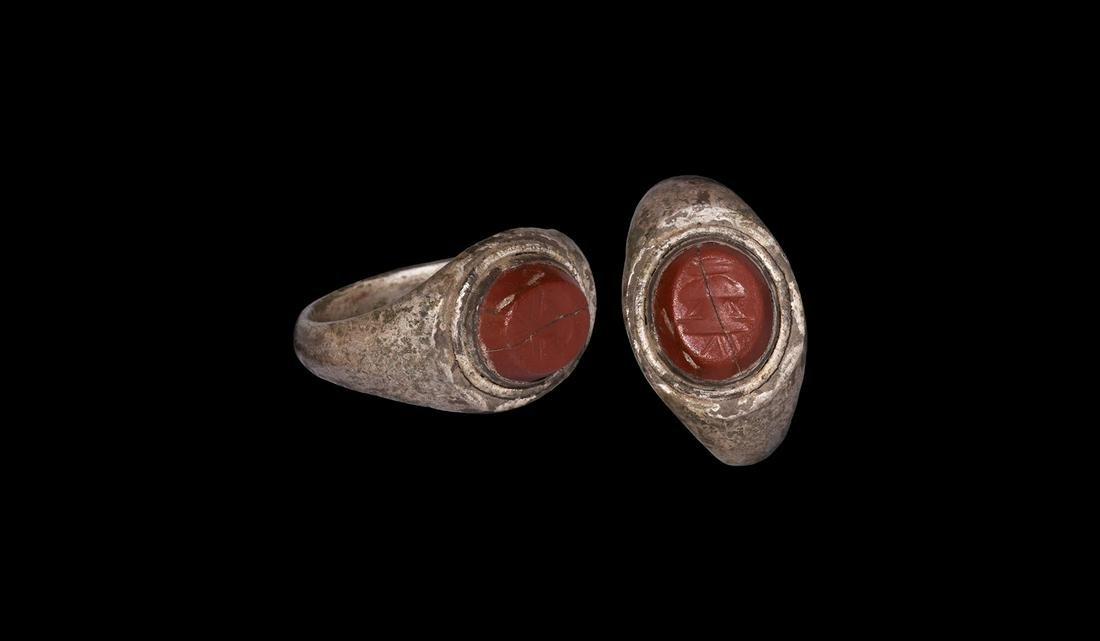 Roman Silver Ring with Urn Intaglio