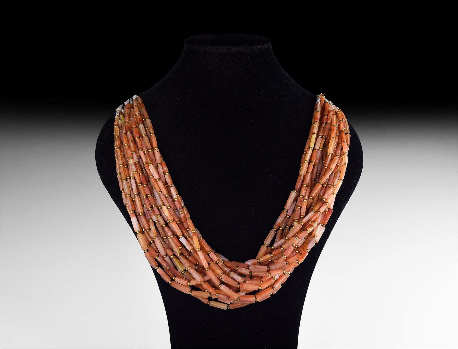 Roman Carnelian Bead Necklace String Group