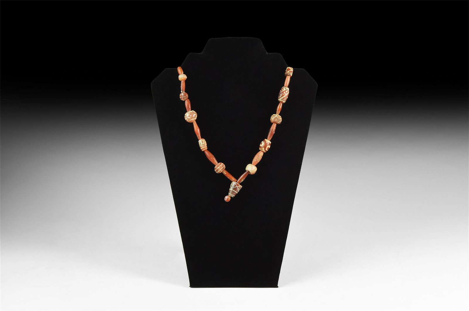 Indus Valley Etched Carnelian Bead Necklace