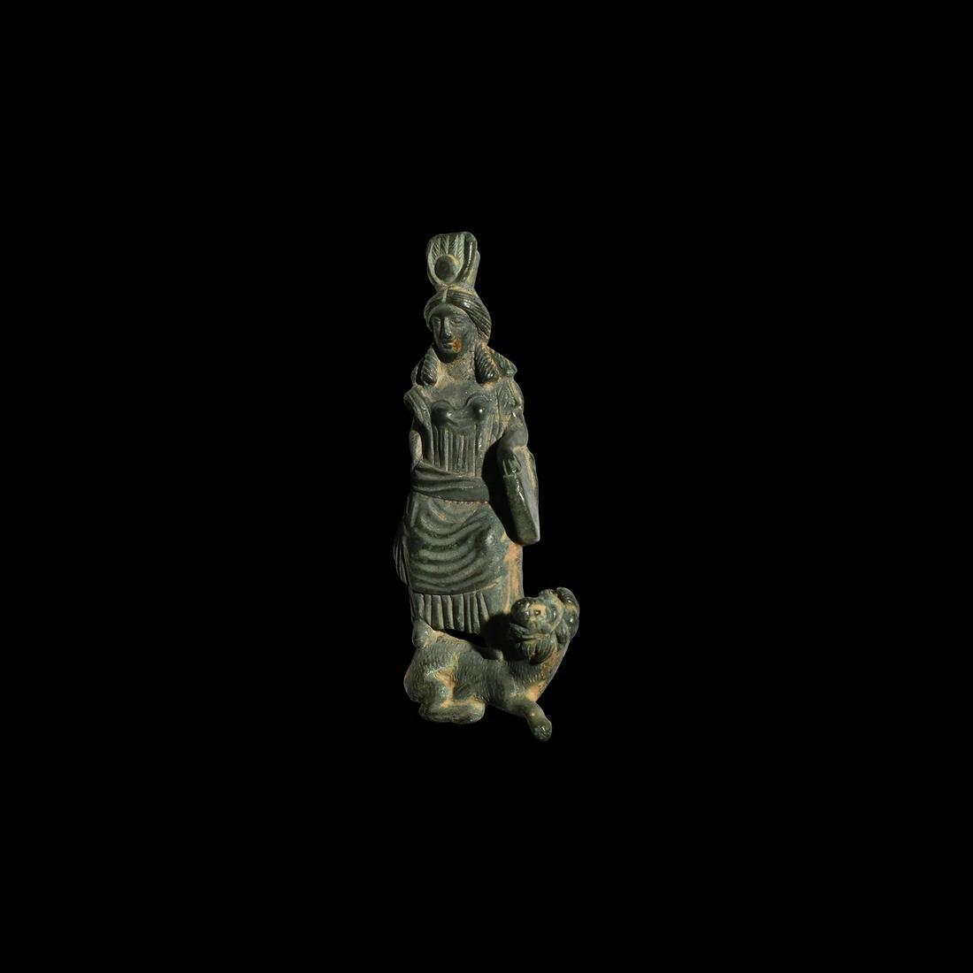 Romano-Egyptian Goddess Statuette Standing on Lion
