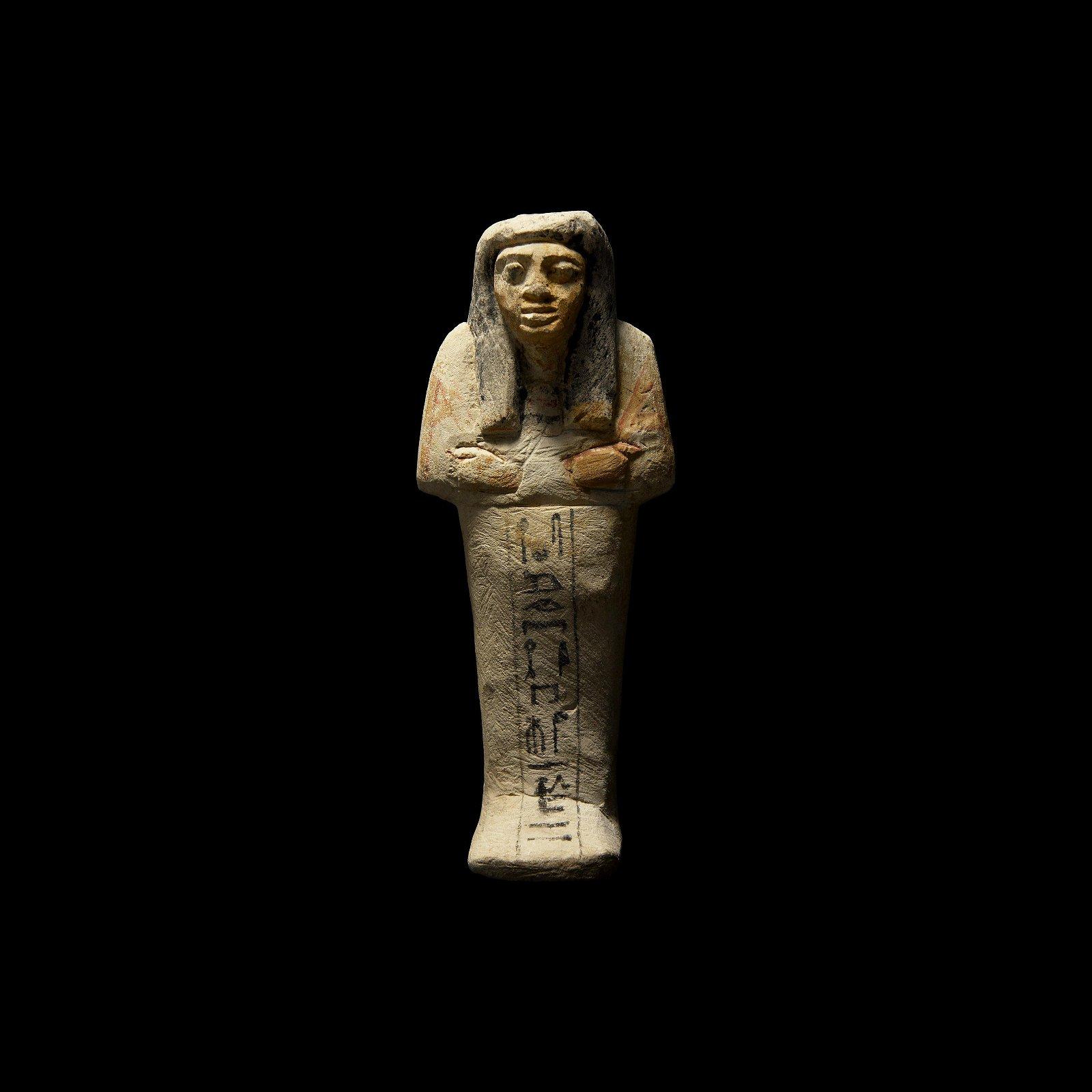 Large Egyptian Painted Hieroglyphic Shabti