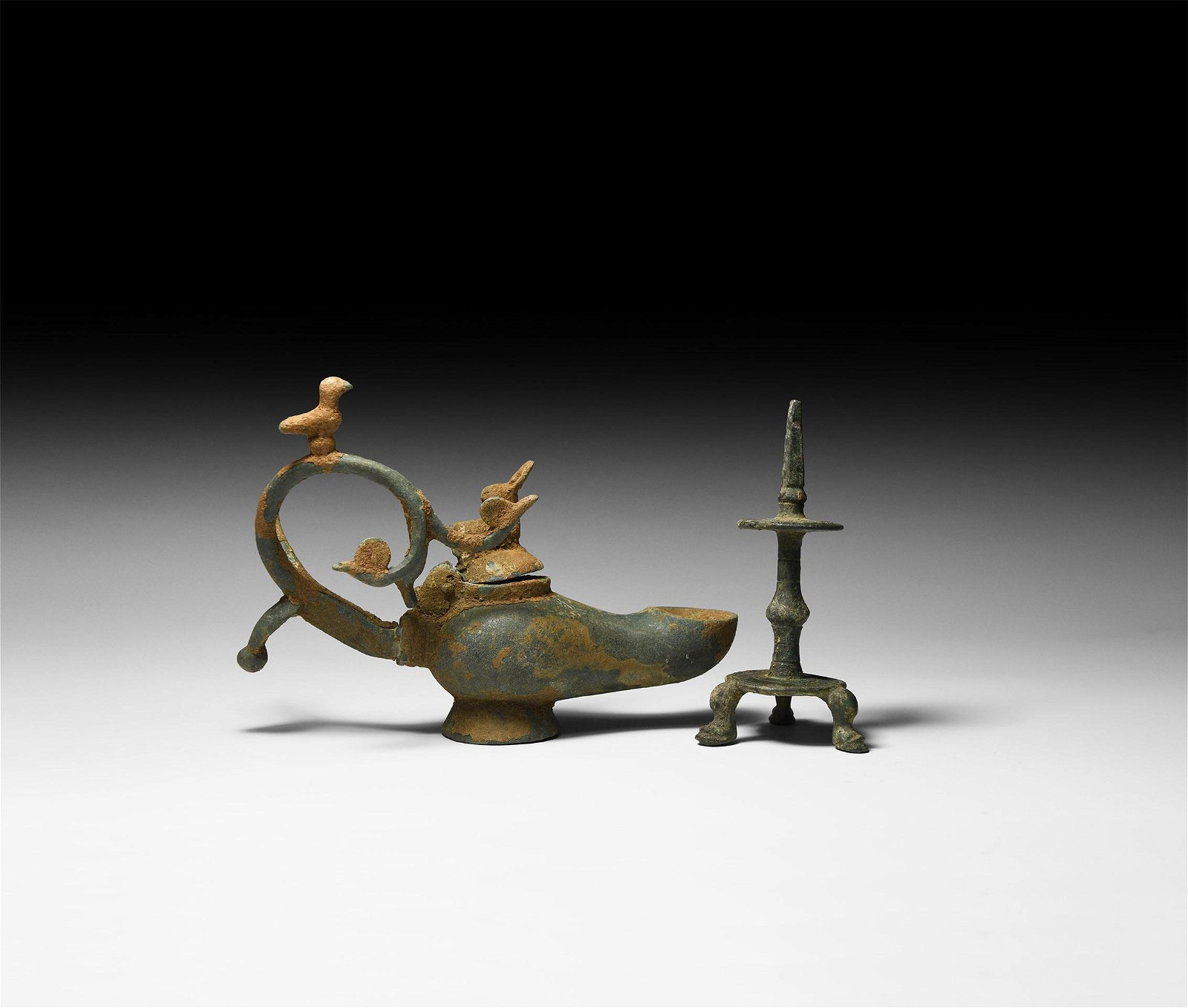 Roman Oil Lamp with Animals and Tripod Stand