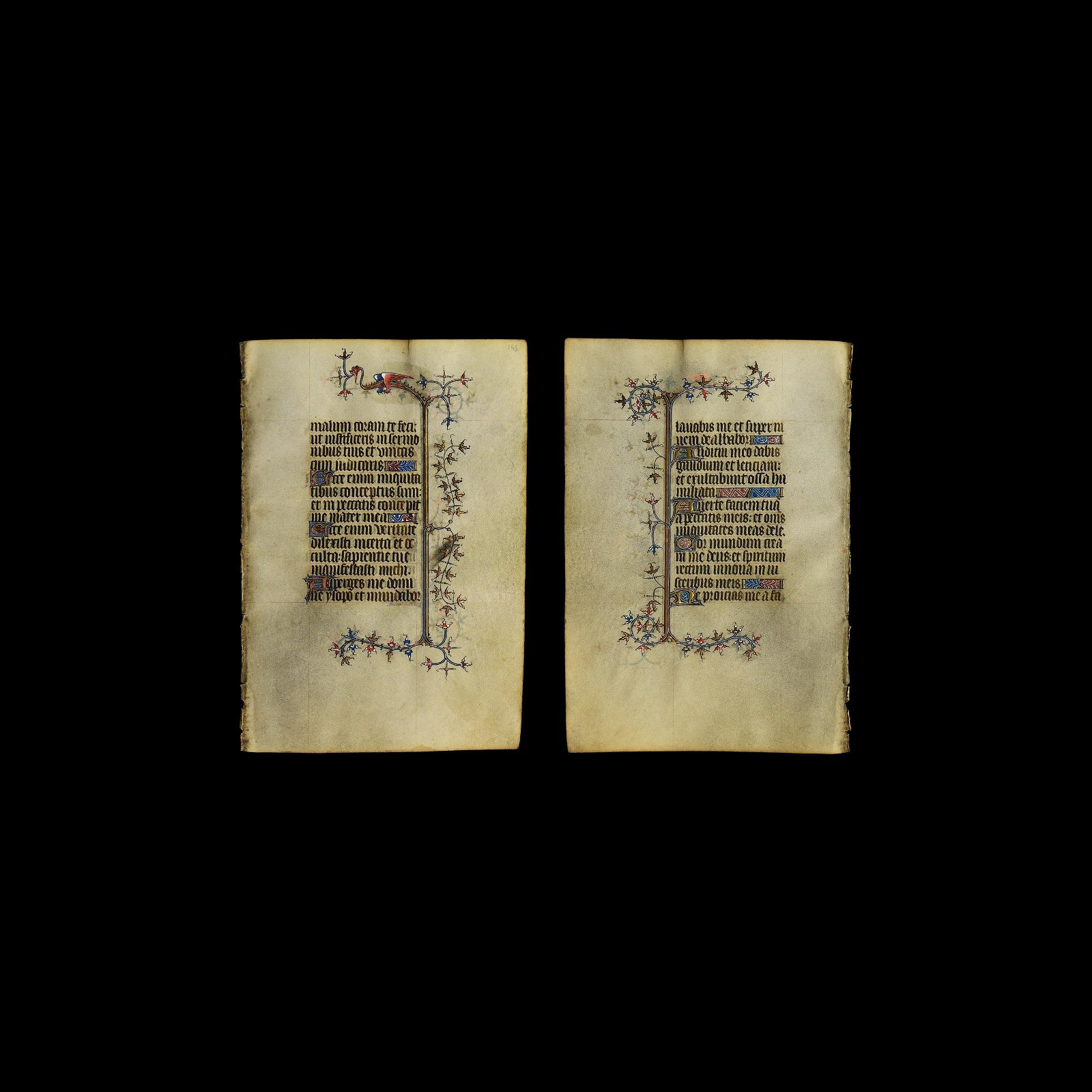 Medieval French Book of Hours Manuscript Leaf with