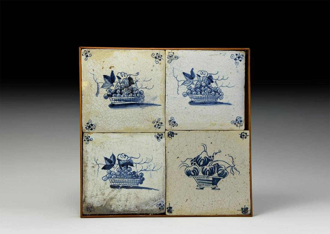 Post Medieval Dutch Tiles with Basket of Fruit