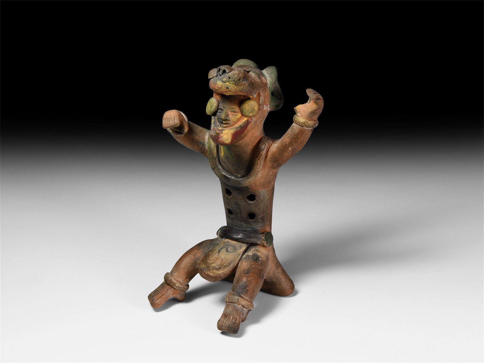 Pre-Columbian Sitting Warrior Statuette