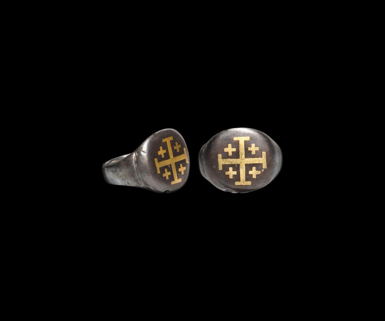 Medieval Crusader Silver Ring with Jerusalem Cross