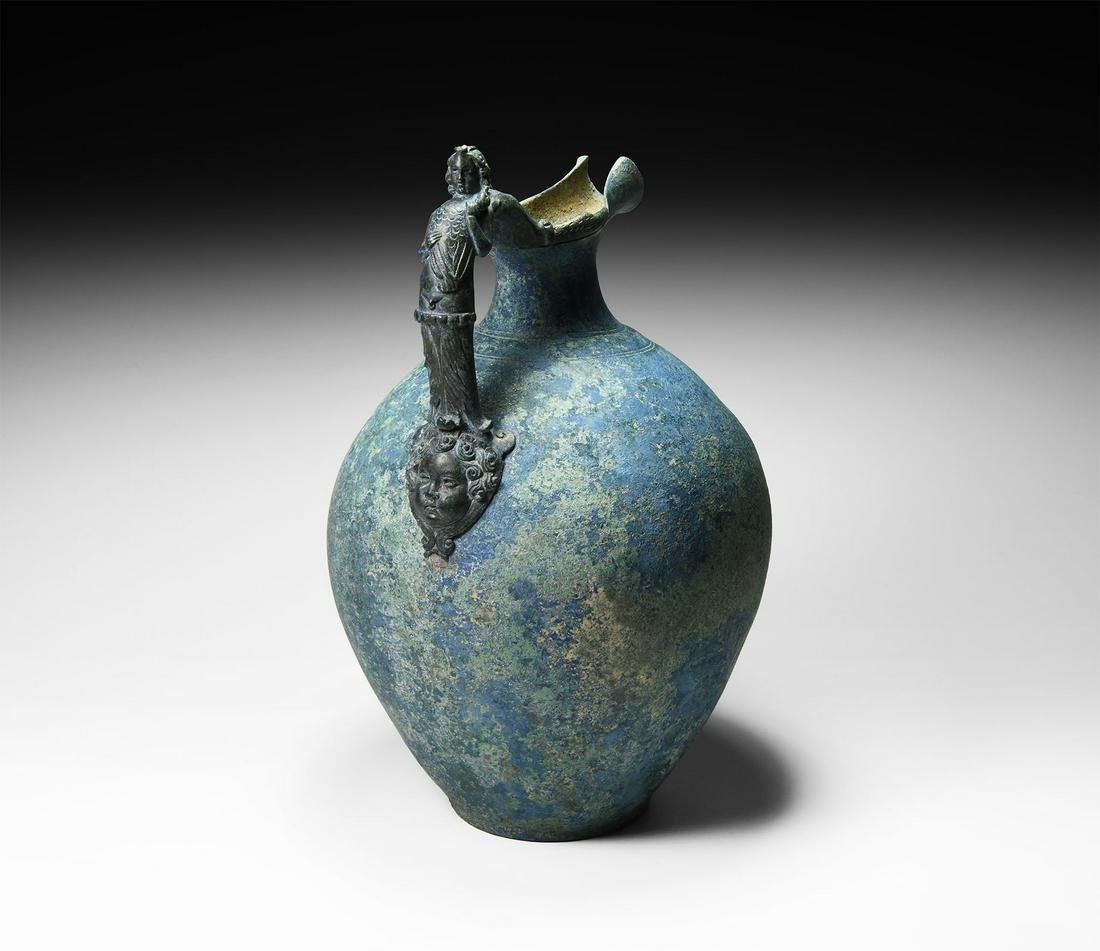 Roman Jug with Figural Handle