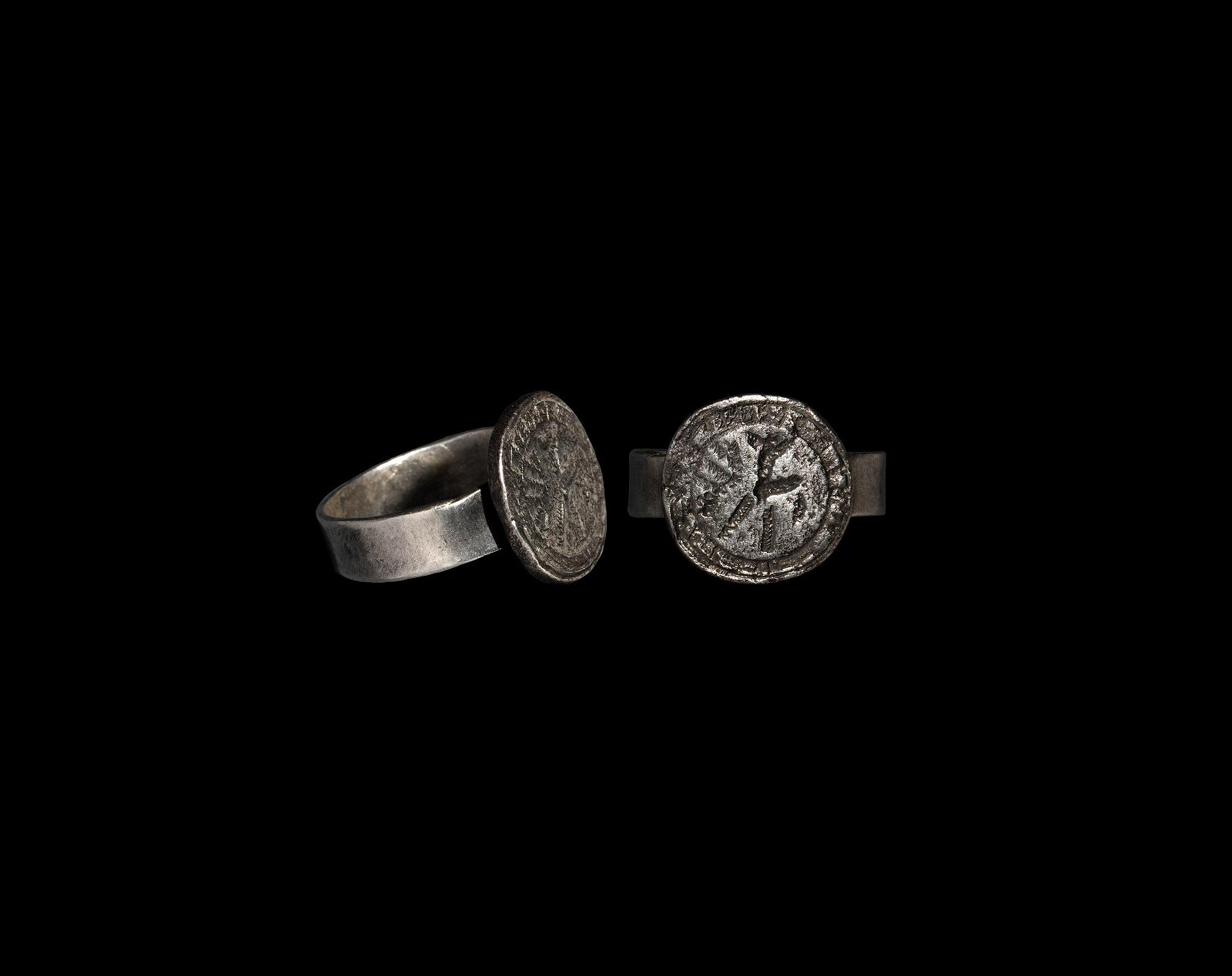 Medieval Silver Ring with Bird