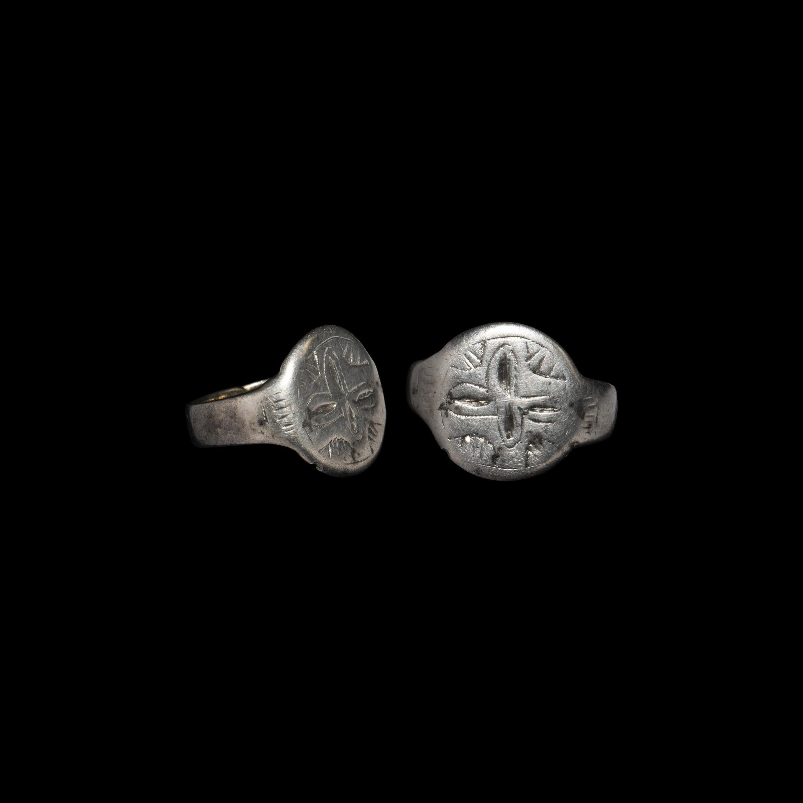 Medieval Silver Ring with Cross