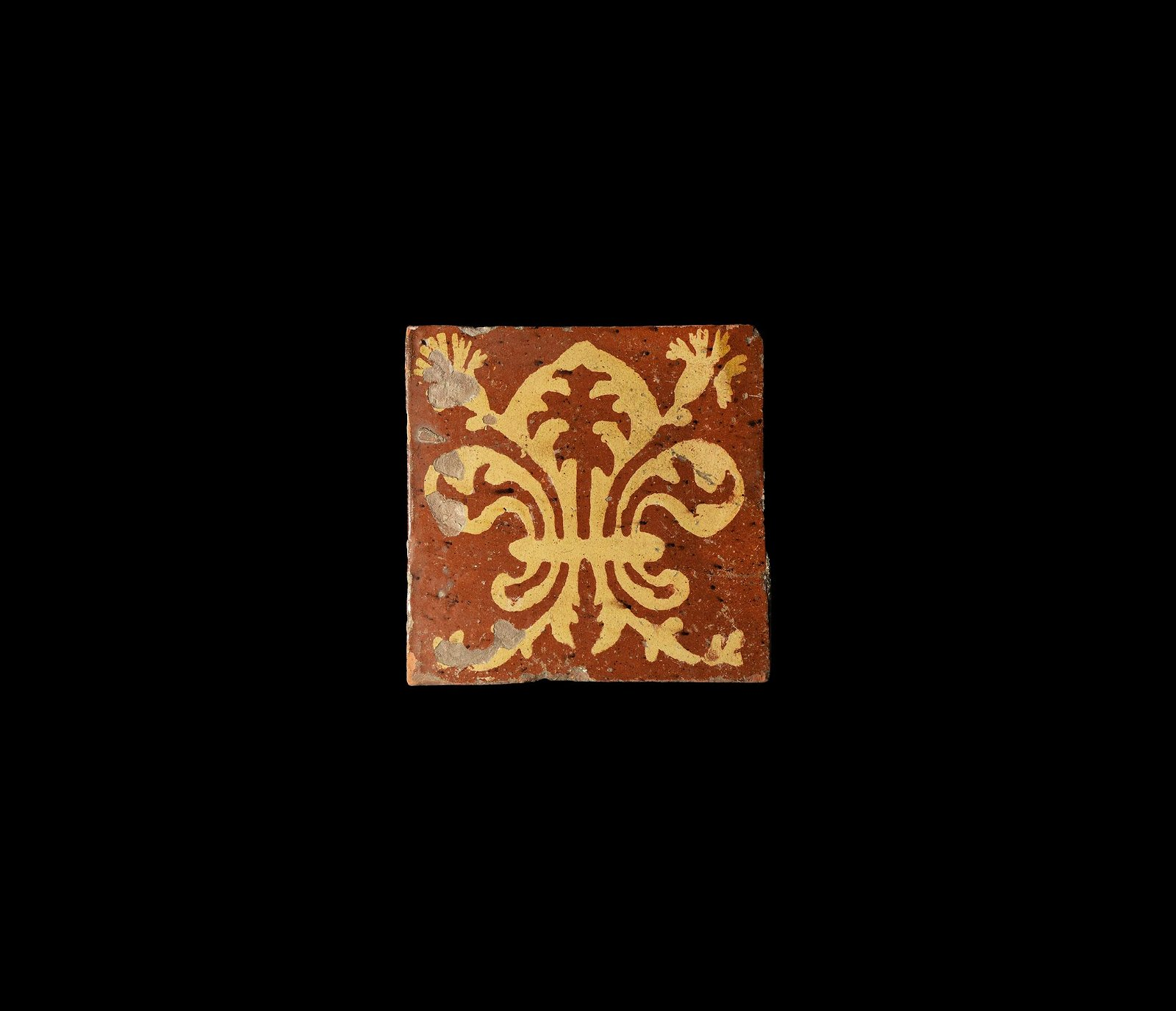 Post Medieval French Tile with Fleur