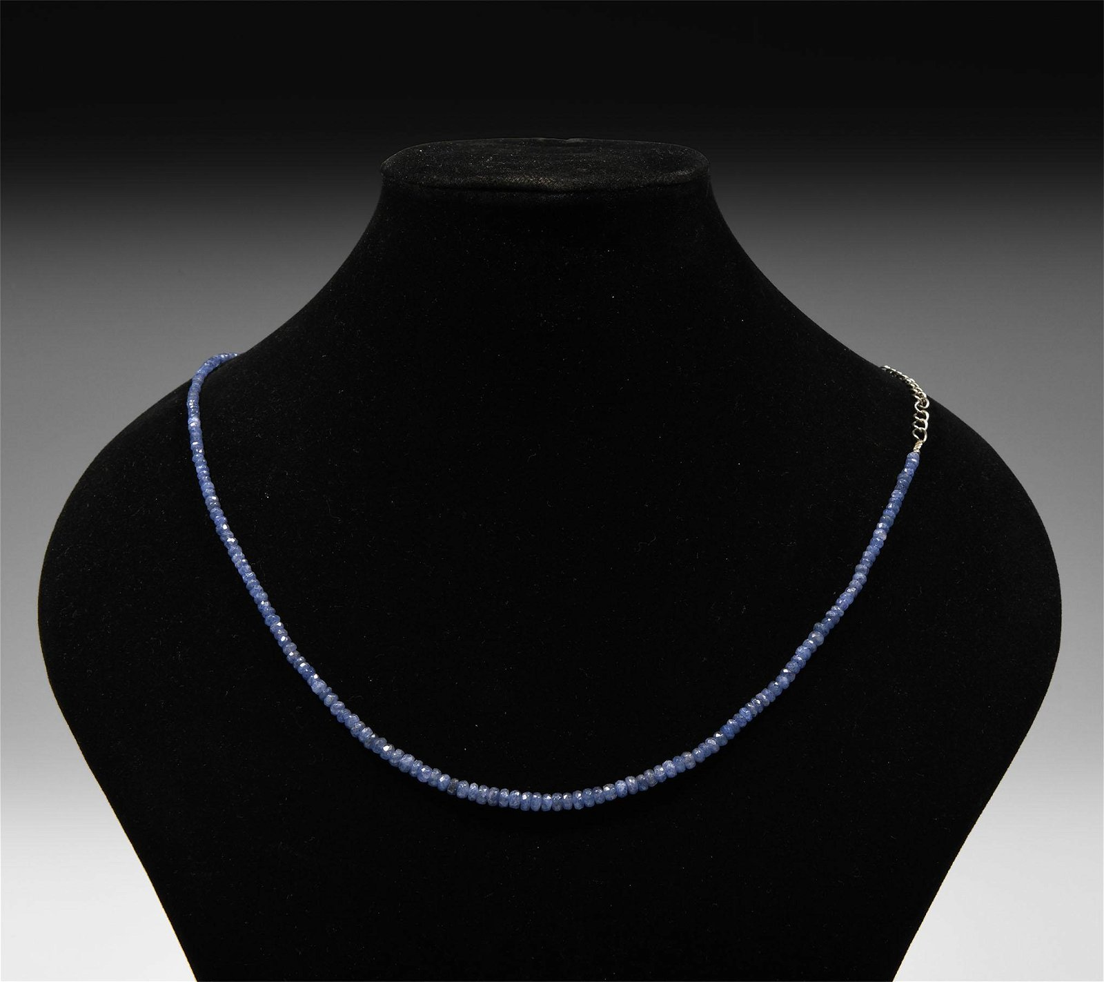 Facetted Blue Sapphire Bead Necklace