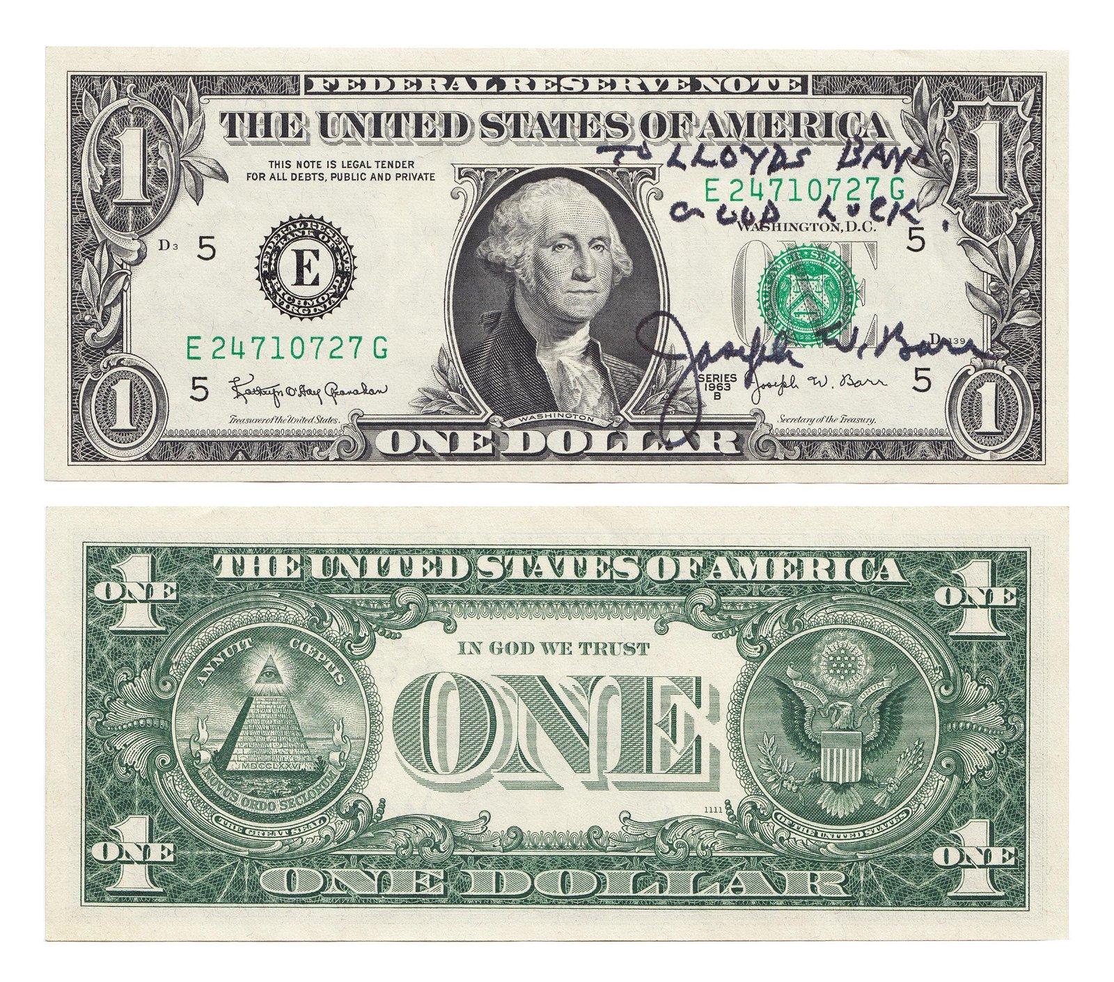 USA - J W Barr - 'To Lloyds Bank Good Luck' Dollar Note