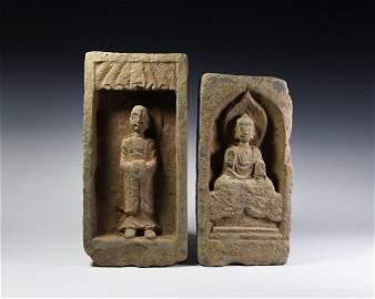 Chinese Wei Buddha Brick Pair