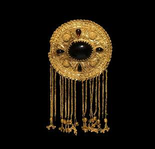 Large Sarmatian Gold Brooch with Pendants