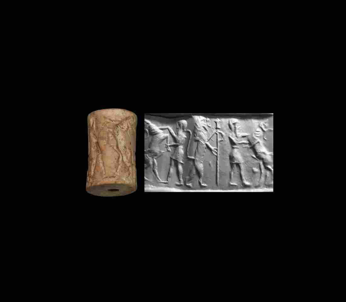 Cylinder Seal with Contest Scene and Symbol for Goddess