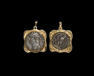 Roman Silver Coin of Nero in Gold Pendant
