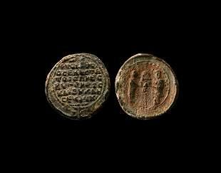 Large Byzantine Molydobullon Seal with Inscription