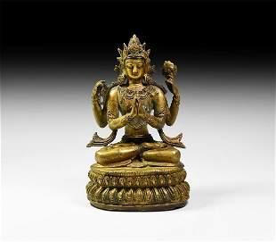 Sino-Tibetan Gilt Chenrezig Figure