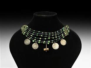 Viking Beaded Necklace with Coin Pendants