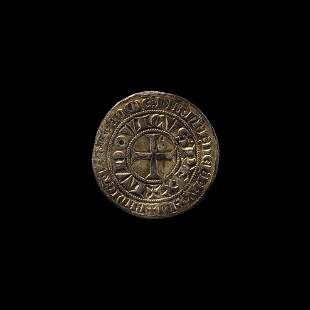 French Gilt Silver Louis IX (Saint Louis) Coin Brooch