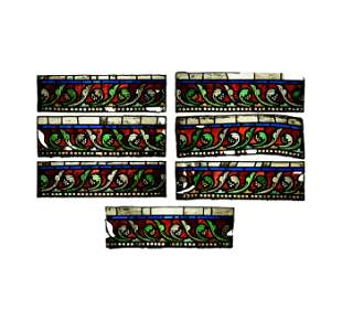 Victorian Period Stained Glass Border Panel Group