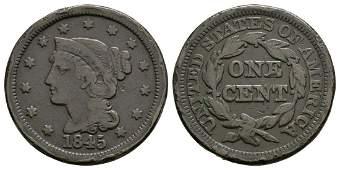 USA - 1845 - Liberty Head / Braided Hair 1 Cent