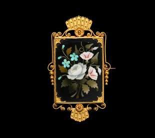 Italian Gold Mounted 'Pietra Dura' Floral Brooch Locket