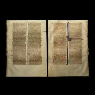 Illuminated English Manuscript Leaf