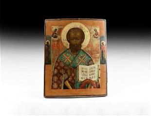 Orthodox Painted Icon of St Nicholas