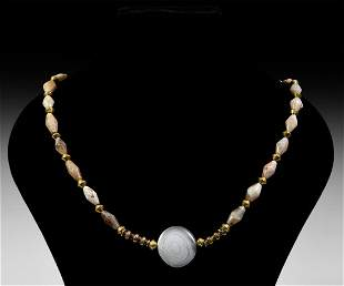 Parthian Gold and Agate Bead Necklace