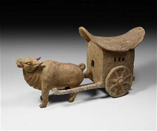 Chinese Tang Terracotta Ox and Cart