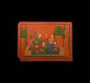 Indian Painting with Musician and Female