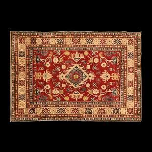 Vintage Kazak Woven Caucasian Carpet
