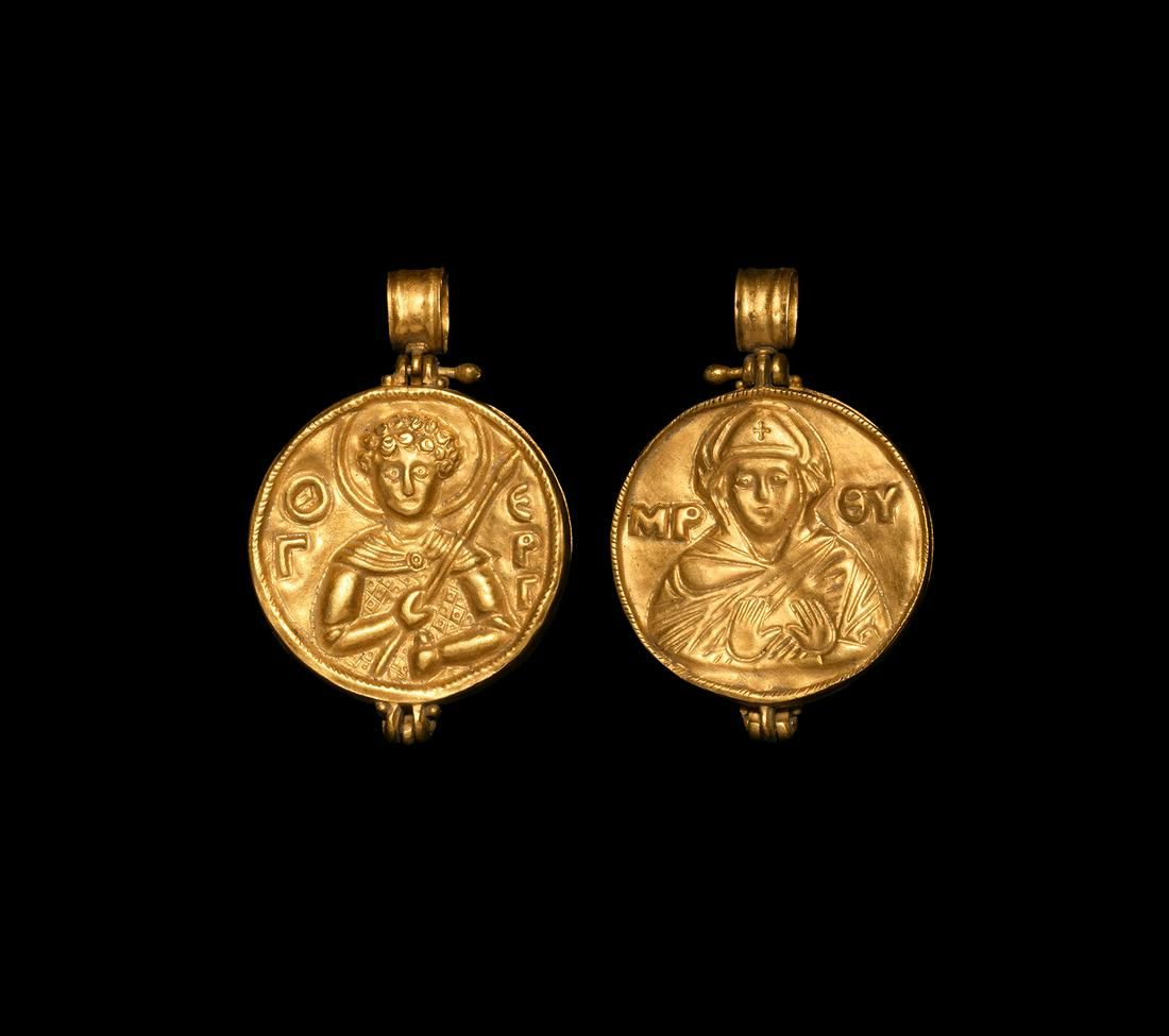 Byzantine Gold Reliquary Pendant with Saints