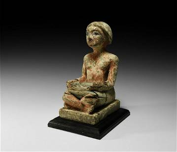 Large Egyptian Wooden Seated Scribe