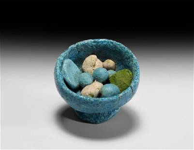 Egyptian Blue Glazed Bowl with Offerings