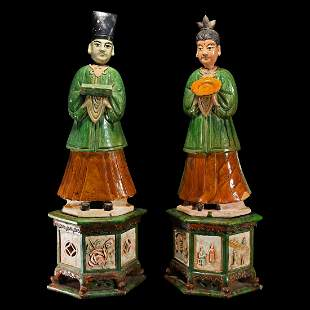 Large Chinese Ming Tomb Attendant Pair
