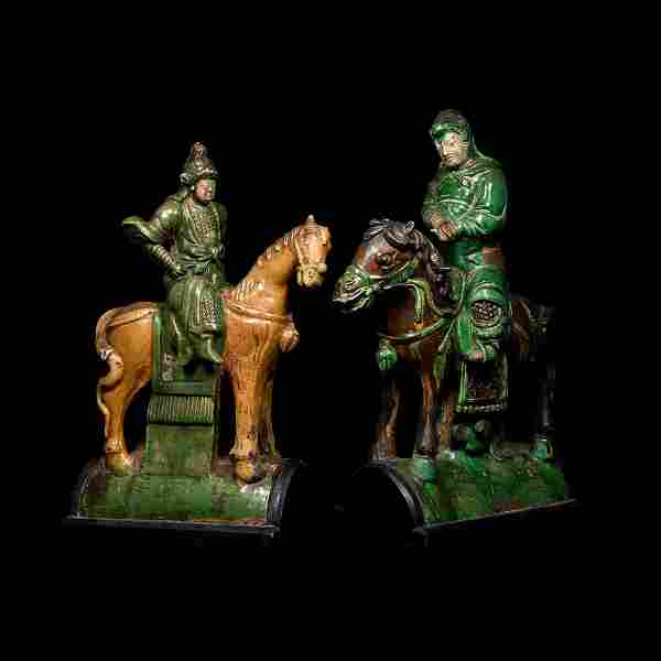 Chinese Ming Horse and Rider Ridge Tile Pair
