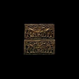 Chinese Ordos Zoomorphic Gilt Plaque Pair
