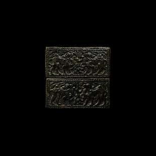 Chinese Ordos Zoomorphic Plaque Pair