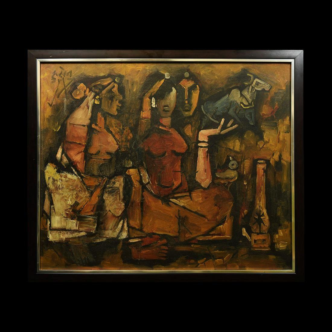 Indian Husain Oil Painting