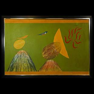 Swaminathan 'Bird and Mountain' Oil Painting