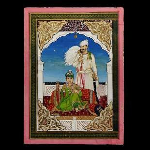 Indian Sikh School Portrait of a Prince with Servant