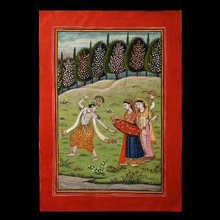 Indian Kangra School Painting, Krishna with Sakhis