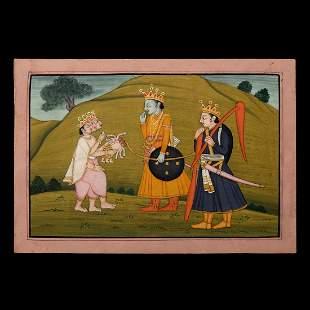 Indian Kangra School Miniature of Mahabharata