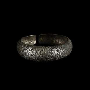 Viking Decorated Silver Bracelet