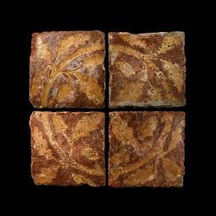 English Glazed Floor Tile Set with Oak Leaf Design