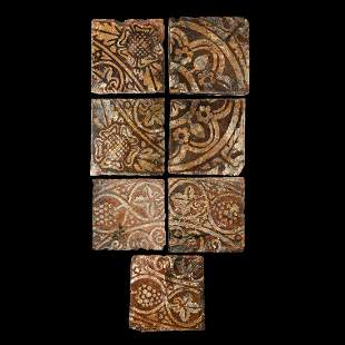 English Malvern School Glazed Floor Tile Group