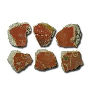 Roman Polychrome Fresco Fragment Collection
